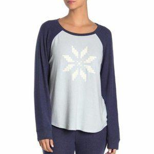 Free Press Blue Raglan Hacci Long Sleeve Sweater L